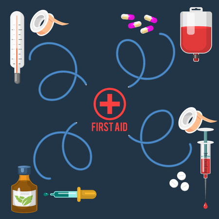 Medical instruments and doctor tools medicament in cartoon style medication hospital health treatment vector illustration. Иллюстрация
