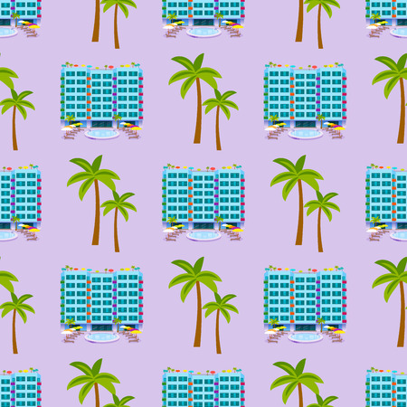 Hotels buildings tourist travelers places vacation time apartment urban town facade seamless pattern background vector illustration. Иллюстрация