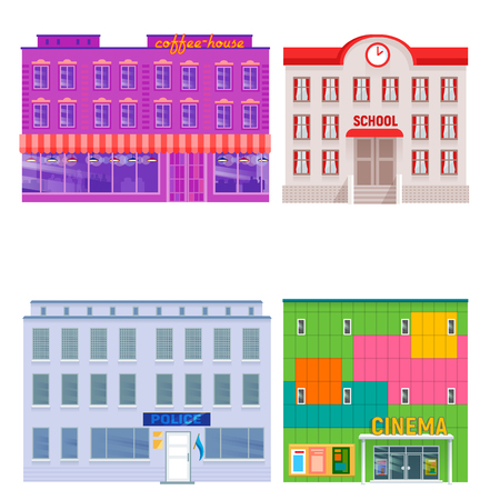 City public buildings houses flat design office architecture modern street apartment vector illustration. Illustration