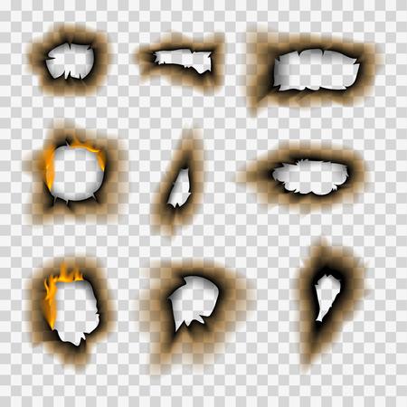 Spalony kawałek spalony wyblakły papier otwór realistyczny płomień ognia na białym tle arkusz rozdarty popiół ilustracji wektorowych Ilustracje wektorowe