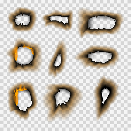 Verbranntes Stück verbrannt verblasstes Papierloch realistische Feuerflamme isoliertes Seitenblatt zerrissene Aschevektorillustration Vektorgrafik