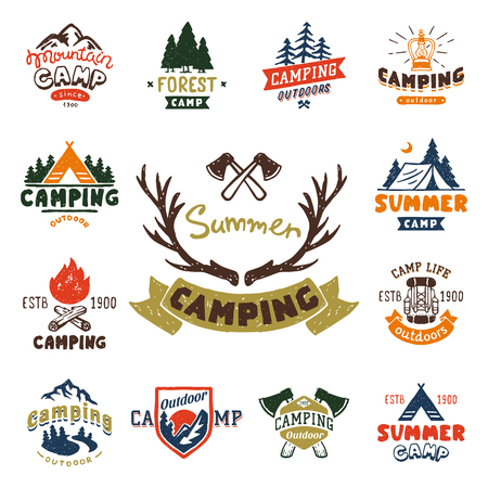 Set of vintage woods camp badges and travel logo hand drawn emblems nature mountain camp outdoor vector illustration. Çizim