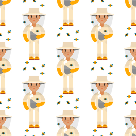 Funny beekeeper farmer character forestercartoon man seamless pattern background agriculture person and happy rancher profession rural farming gardener worker people vector illustration. Çizim