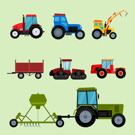 Agriculture industrial farm equipment machinery tractors combines and excavators vector illustration. Illustration
