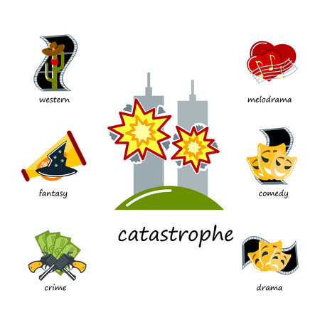 Cinema genre icons set cinematography flat entertainment comedy drama thriller movie production symbol vector illustration. Illustration