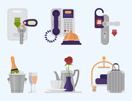 Hotel workers vector personal professional service man and woman job objects hostel manager illustration. Banque d'images - 101141010