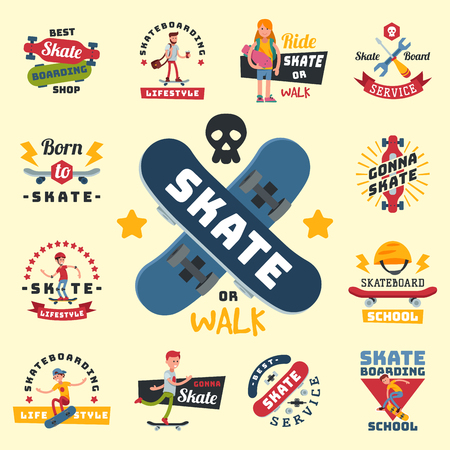 Skateboarders people tricks silhouettes sport badge extreme action active skateboarding urban young jump person vector illustration. Stock fotó - 101141012