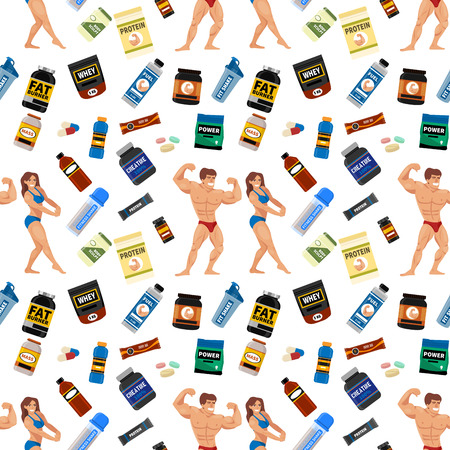 Bodybuilders gym athlete seamless pattern background sport food diet symbols fitness nutrition protein powder drink vector illustration. Jars and bottles with supplements for muscle growth.