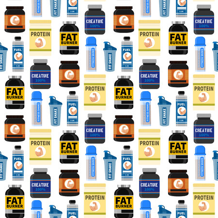 Bodybuilders gym athlete sport food diet seamless pattern background fitness nutrition protein powder drink vector illustration. Jars and bottles with supplements for muscle growth.