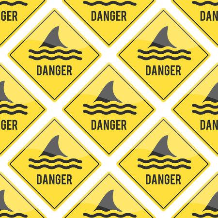 Attention shark fin flipper vector sign icon dangerous button water beach serfing shark warning yellow sign.