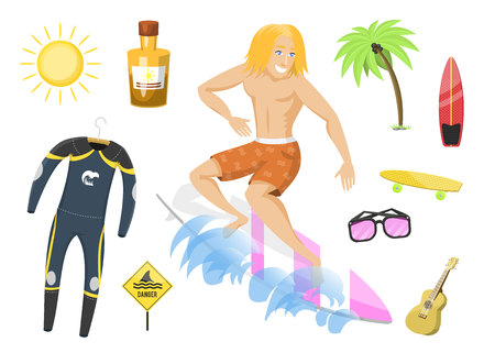 Surfing active water sport surfer summer time beach activities man windsurfing jet water wakeboarding kitesurfing vector illustration. Activity adventure outdoor action vacation.