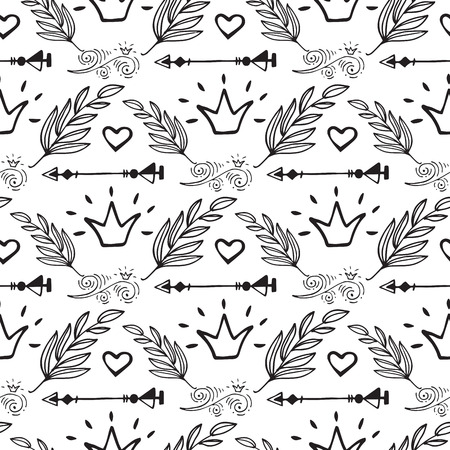 Creative boho style frames vector ethnic feathers arrows floral elements seamless pattern background illustration.