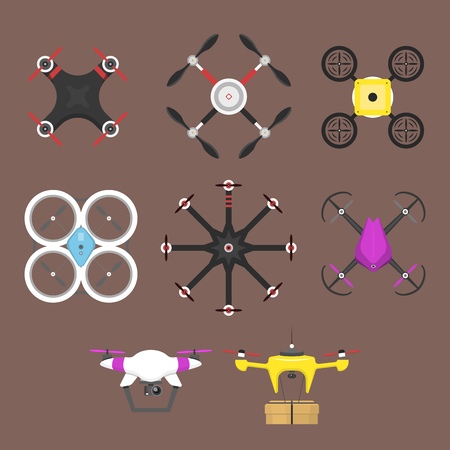 Vector illustration aerial vehicle drone quadcopter surveillance air hovering wireless tool remote control fly camera.