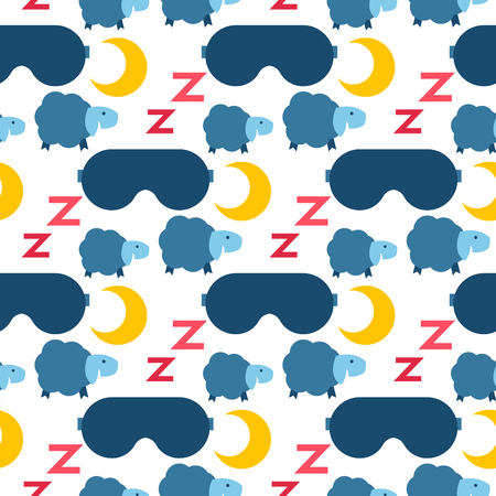 Sleep icons moon seamless pattern background dream healthy lifestyle. Bedroom rest star human sleep wake time sleeping flat vector ornament.