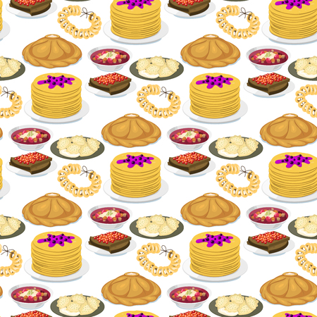 Traditional Russian cuisine seamless pattern