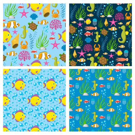 Aquatic funny sea animals underwater creatures cartoon characters shell aquarium seamless pattern background vector illustration. Beach nature sea bowl elements sealife. Illustration