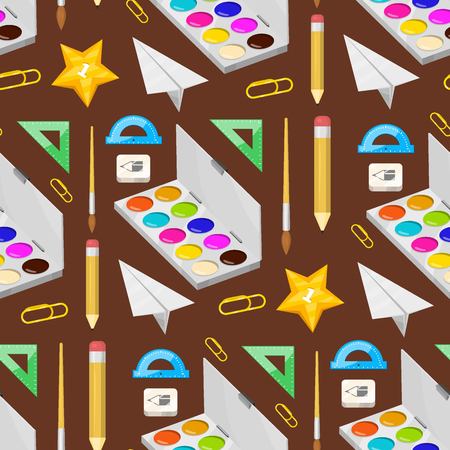 School supplies stationery educational seamless pattern background equipment learning office accessories vector illustration.