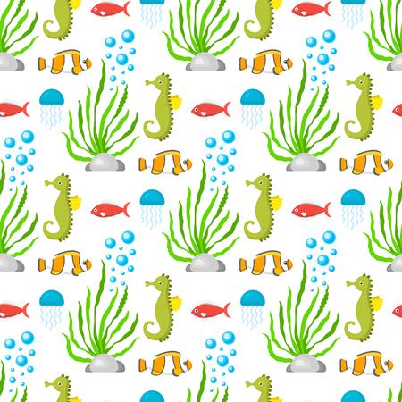 Aquatic funny sea animals underwater creatures cartoon characters shell aquarium sealife seamless pattern background vector illustration. Stockfoto