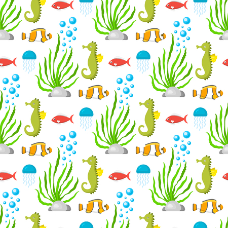 Aquatic funny sea animals underwater creatures cartoon characters shell aquarium sealife seamless pattern background vector illustration. Stock Photo