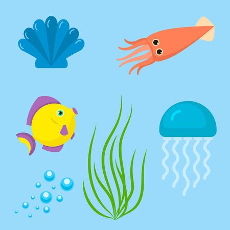 Set aquatic funny sea animals underwater creatures cartoon characters shell aquarium sealife vector illustration. Stock Photo
