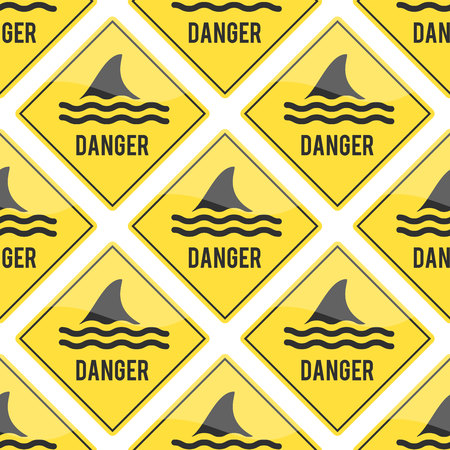 Attention shark fin flipper vector sign icon dangerous button water beach serfing shark warning yellow sign Illustration