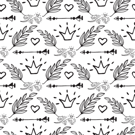 Creative boho style frames vector ethnic feathers arrows floral elements seamless pattern background illustration