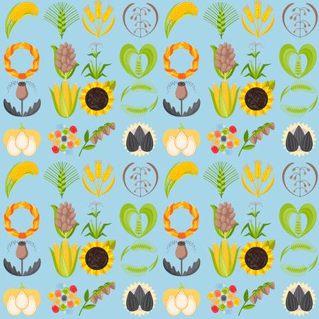 Cereal seeds grain product vector seamless pattern background natural plant muesli grainy organic porridge flour illustration. Wheat ear harvest icon organic farm food.