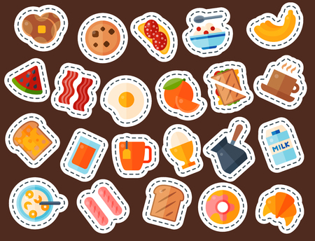 Breakfast healthy food meal icons drinks flat design bread egg lunch healthy meat menu restaurant vector illustration. Cooking fruit kitchen utensils breakfaster snack. Banco de Imagens - 101291275