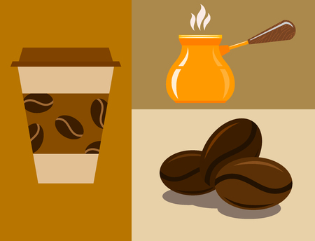 Coffee cup coffeemaker coffeepot takeaway beverage vector texture drink food illustration. World coffee export taste graphic. Illustration