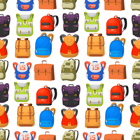 Back to School kids backpack vector illustration work time education baggage rucksack learning luggage seamless pattern background. Ilustração