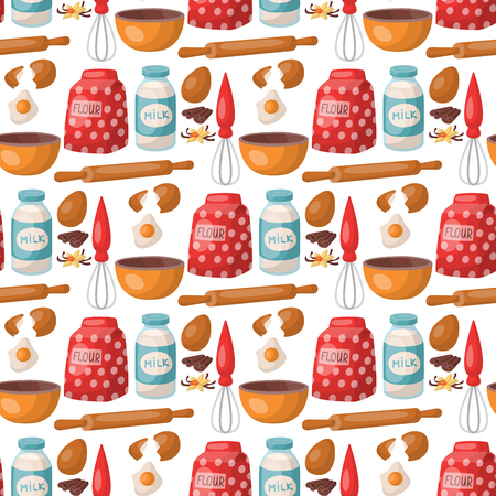 Baking pastry prepare cooking ingredients kitchen utensils homemade food preparation baker seamless pattern background vector illustration. Illusztráció
