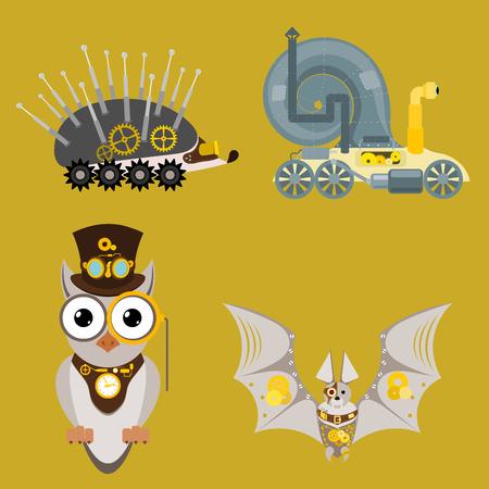 Stylized metal steampunk mechanic robots animals machine steam gear insect punk art machinery vector illustration.