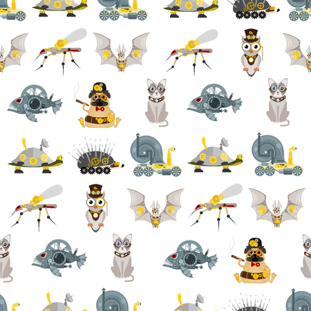 Stylized metal steampunk mechanic robots animals machine steam gear insect punk art machinery seamless pattern background vector illustration. Ilustração