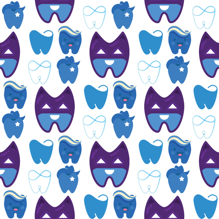 Vector dental label protection template illustration stomatology mouth graphic oral element seamless pattern background Illustration