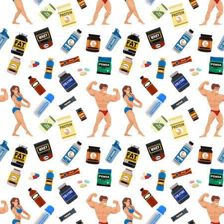 Bodybuilders gym athlete seamless pattern background sport food diet symbols fitness nutrition protein powder drink vector illustration.