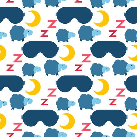 Sleep icons vector illustration seamless pattern background nap moon relax bedtime night sleeping elements.