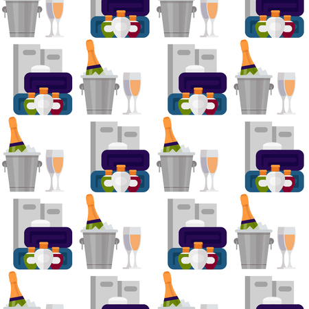 Hotel personal professional service objects executive help hostel tools seamless pattern background vector illustration.