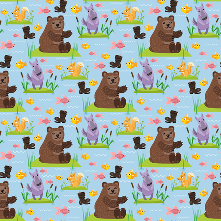 Bear character teddy pose vector seamless pattern background wild grizzly cute illustration adorable animal design.