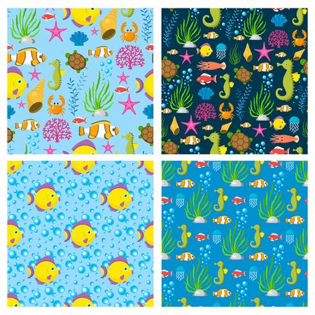 Aquatic funny sea animals underwater creatures cartoon characters shell aquarium sealife seamless pattern background vector illustration. Illustration