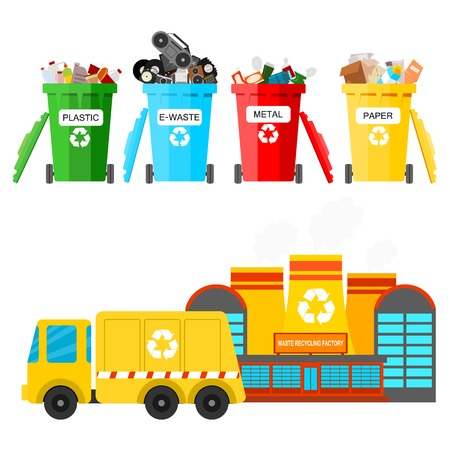 Waste recycling vector garbage process factory truck brought processing industry processed manufacturing production illustration. Vettoriali