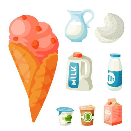Milk dairy products vector flat style breakfast gourmet organic meal fresh diet food milky drink ingredient nutrition illustration.