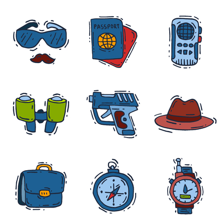 Spy icons vector cartoon detective set mafia agent binoculars or spyglass for spying or secret investigation illustration isolated on white background Stock Vector - 101384217