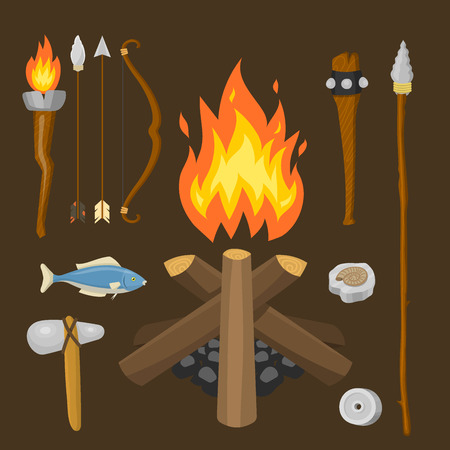 Stone age vector aboriginal primeval historic hunting primitive people weapon and house life symbols illustration. Ilustração