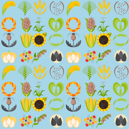 Cereal seeds grain product vector natural plant muesli grainy organic porridge flour seamless pattern background illustration.