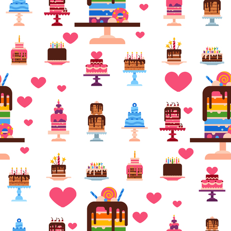 Wedding or Birthday pie cakes flat sweets dessert bakery ceremony delicious seamless pattern background vector illustration. Stock Vector - 102172215