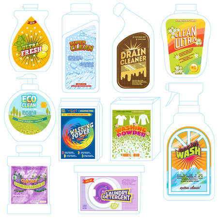 Detergent package vector cleaner washing product pack template illustration set of detergency powder packaging to wash or deterge and cleaning laundry advertising isolated on white background Illustration