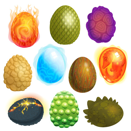 Dragon eggs vector cartoon egg-shell and colorful egg-shaped easter symbol illustration set of fantasy dinosaur egghead isolated on white background Standard-Bild - 102266056