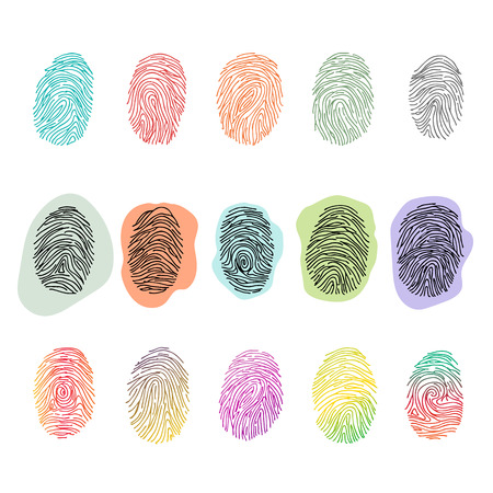 Fingerprint vector fingerprinting identity with fingertip identification illustration set of fingering print or security thumbprint isolated on white background Çizim