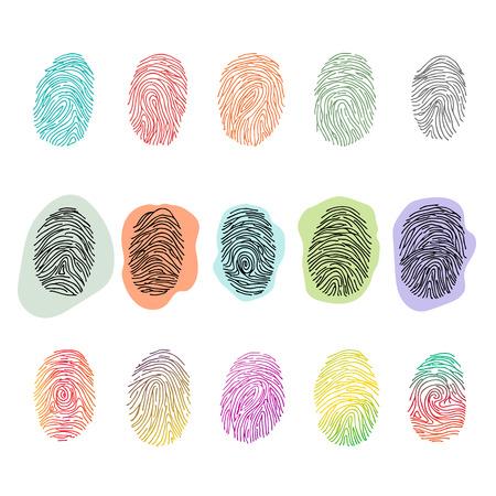 Identità di impronta digitale vettoriale di impronte digitali con set di illustrazione di identificazione della punta delle dita di impronta digitale di diteggiatura o di sicurezza isolato su priorità bassa bianca