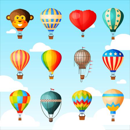 Mongolfiera o aerostato del fumetto di vettore dell'aerostato con il canestro che vola nel cielo e insieme dell'illustrazione di volo di avventura in mongolfiera del viaggio in mongolfiera isolato su priorità bassa